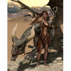 3D настилка за геймъри – жена с дракон