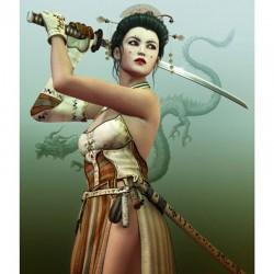 3D настилка за геймъри – жена самурай