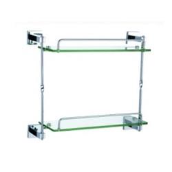 Двойна стъклена етажерка за баня