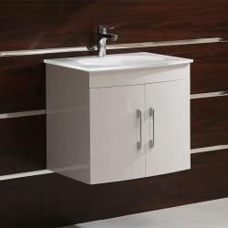 Бял долен шкаф за баня от PVC - за окачване