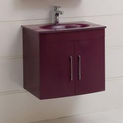 Лилав долен шкаф за баня от PVC - за окачване