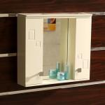 Бежов огледален PVC шкаф за баня