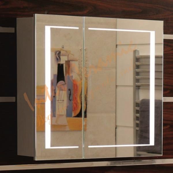 LED Огледален PVC шкаф за баня – Интер Керамик