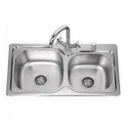 Кухненска мивка алпака с две овални корита  ICK S7639P