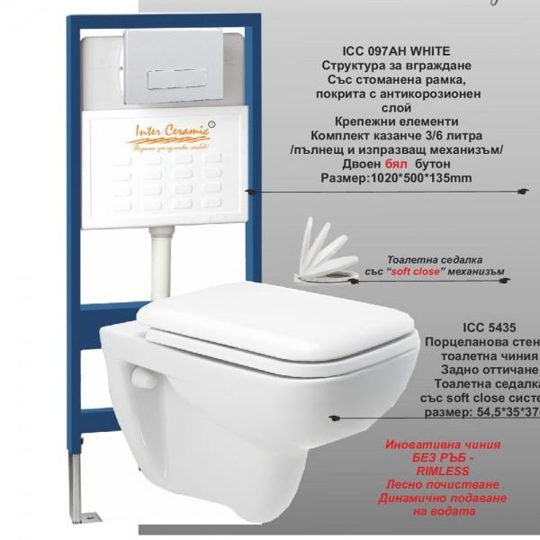 Сет структура за вграждане Атия и rimless стенна тоалетна
