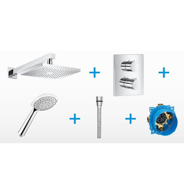 Аксесоари за баня със смесител с термостат T-2000 и RocaBox