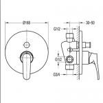 Смесител BS2037-78G за вграждане - четирипътен