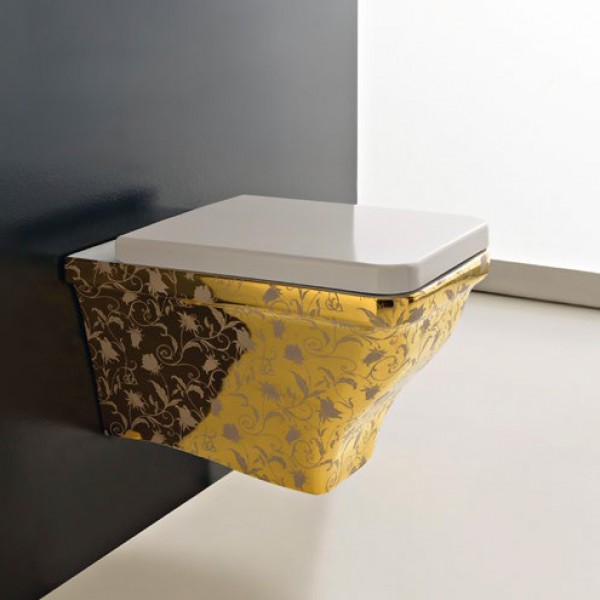 Окачена тоалетна чиния златен декор GOLDEN FLOWERS