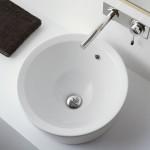 Кръгла мивка за баня за вграждане в плот