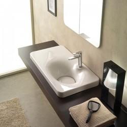 Мивка за баня с плот отляво на смесителя