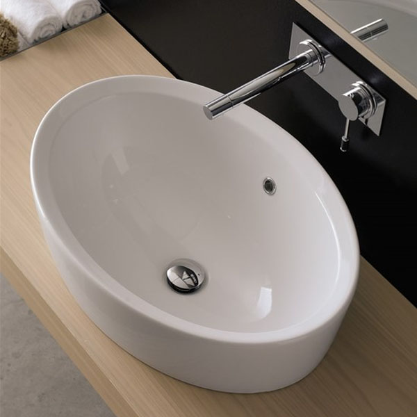 Овална мивка за баня - модел за вграждане в плот