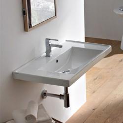 Стилна мивка за баня - стенен монтаж или интегриране в плот