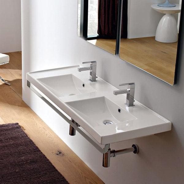 Двойна мивка за баня в екстра дълъг размер