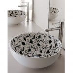 Мивка за баня декор черни цветя