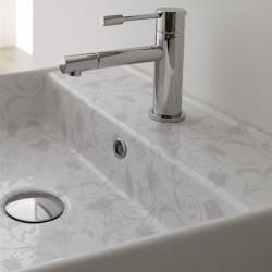 Мивка за баня декор сиви цветя