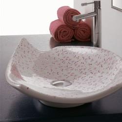 Мивка за баня декор розови цветя