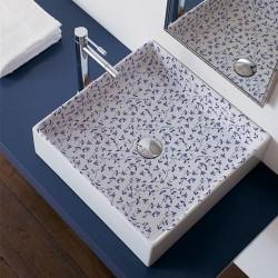 Мивка за баня декор сини цветя