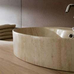 Мивка за баня декор травертин