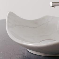 Мивка за баня декор бял мрамор