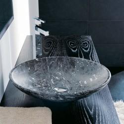 Мивка за баня декор черен мрамор