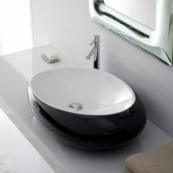 Мивка за баня два тона черно-бяло
