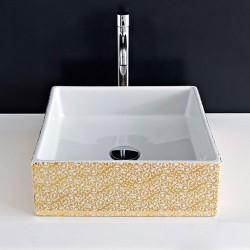 Мивка за баня външен декор златен цвят и флорални мотиви