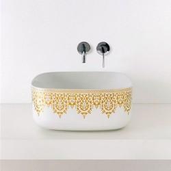 Луксозен стоящ умивалник декор златна плетка