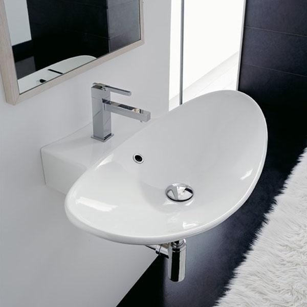 Авангардна мивка за стенен монтаж, с отвор за смесител