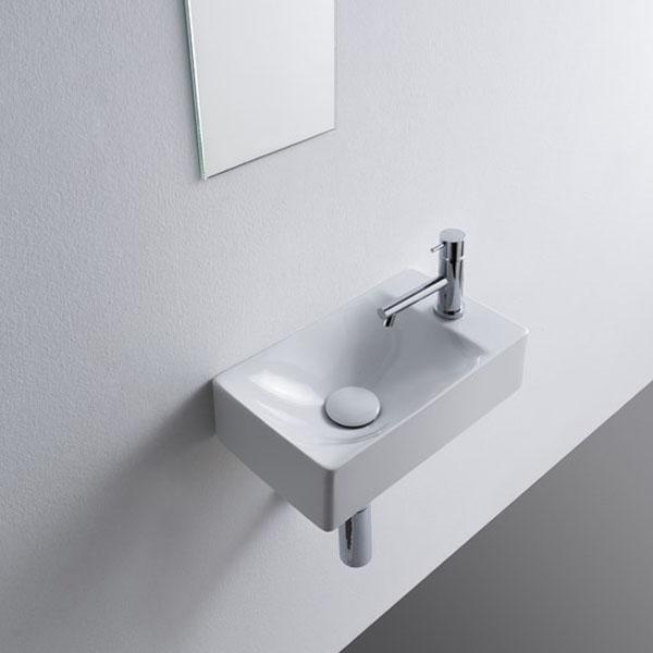 Малка мивка за баня със страничен плот