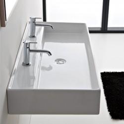 Мивка за баня Teorema 100R с два смесителни отвора