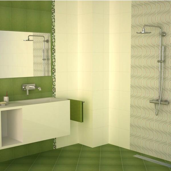 Плочки за баня/ Колекция Скарлет от KAI GROUP/ Баня в зелен, син и кафяв цвят