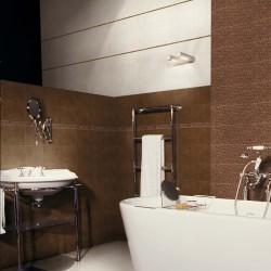 Плочки за баня/ Колекция Tresor  от APARICI/ Баня с плочки в  бял и кафяв цвят