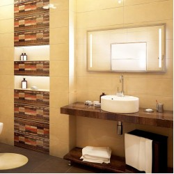 Испански плочки за баня/ Velur Amelie Колекция от DUAL GRES/ Баня с плочки в бежов и кафяв цвят с атрактивни елементи