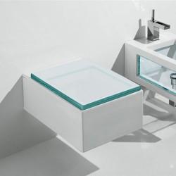 Окачена тоалетна чиния със стъклен капак