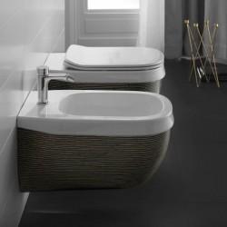 Окачена тоалетна чиния италиански дизайн – Abito Black Righe Oro 56