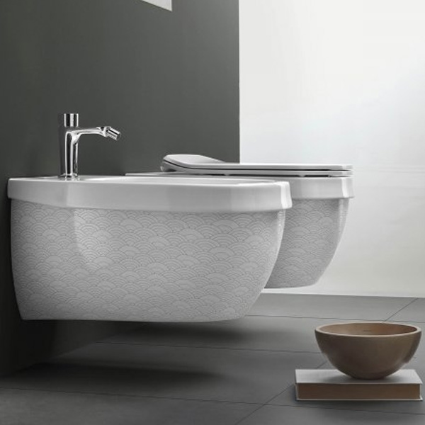 Окачена тоалетна чиния италиански дизайн –  Abito Onde Grigio 56