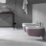 Окачена тоалетна чиния в розов порцелан Hatria (Италия)