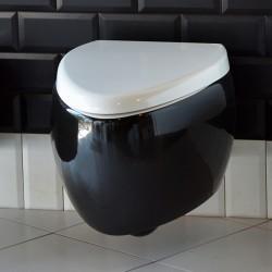 Тоалетна чиния 8604о в черно и бяло - за стенно монтиране/ Колекция Moai
