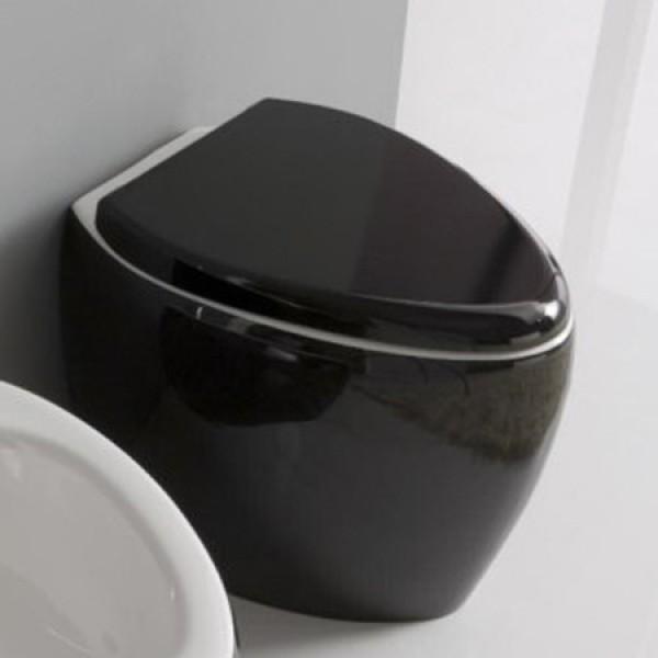 Тоалетна чиния в черно и бяло - стояща 8606 / Колекция Moai